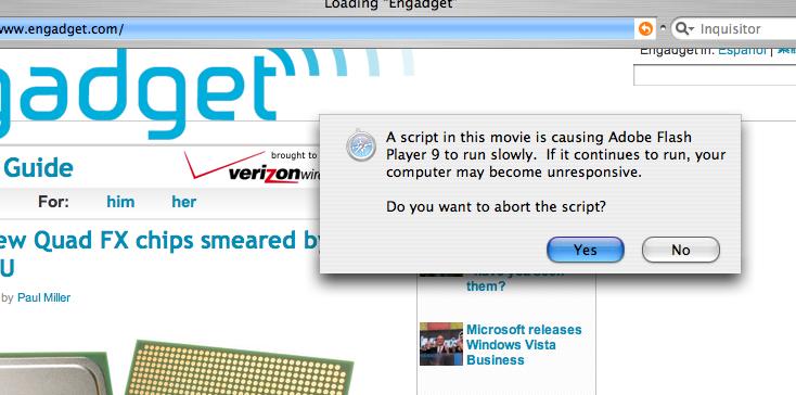 adobe flash player script error