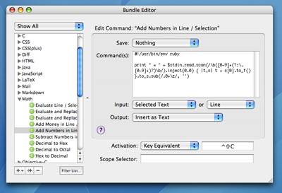 Bundle Editor in TextMate