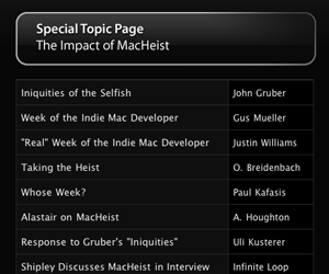 MacHeist Topic Page on Cocoa Blogs