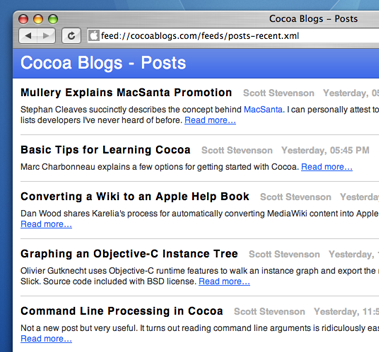Cocoa Blogs RSS Feed