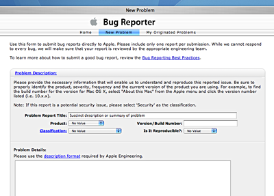 Apple Bug Reporter New Issue