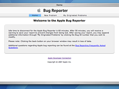 Apple Bug Reporter Welcome Page