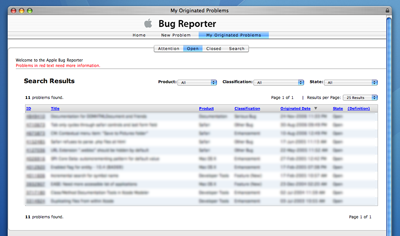 Apple Bug Reporter Issue List