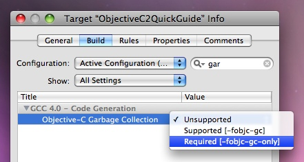 Xcode Enable Garbage Collection