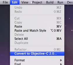 Xcode Convert to Objective-C 2.0