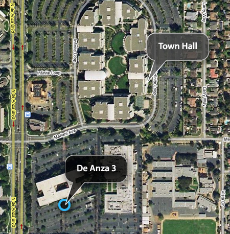 Map to De Anza 3 Auditorium